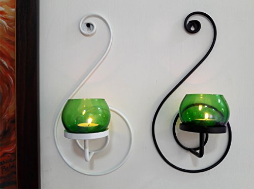 TIEDRIBBONS Decorative Wall Sconce / T Lights Holder Pack Of 2(Black, Metal) With T-light Candle