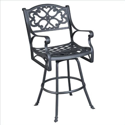 Home Styles Biscayne Swivel Stool in Black Finish