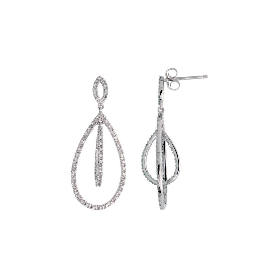 14k White Gold Teardrop Dangle Earrings, w/ 0.42 Carat Brilliant Cut Diamonds, 1 1/4 in. (32mm) tall