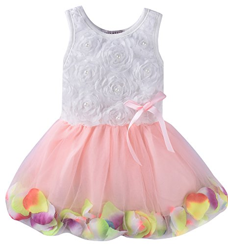 ZOEREA Kids Baby Girls Dress Princess Flower Petal Lace Ruffled Tulle Skirts