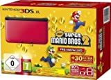 Nintendo 3DS XL Red/Black and Super Mario Brothers 2 Game Pre-Installed (Special Edition)