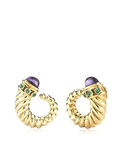 David Yurman 18K Yellow Gold, Amethyst & Emerald Earrings