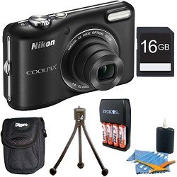 COOLPIX L28 20.1 MP 5x Zoom Digital Camera - Black with 16GB Memory Bundle. Bundle Includes 16GB Memory Card, Charger with 4AA 2900mAh Batteries, Mini Table-top Tripod, Deluxe Carrying Case , and 3pc. Lens Cleaning Kit.