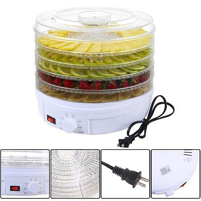 5-tray-electric-food-dehydrator-fruit-vegetable-dryer-beef-snack-jerky-white-new