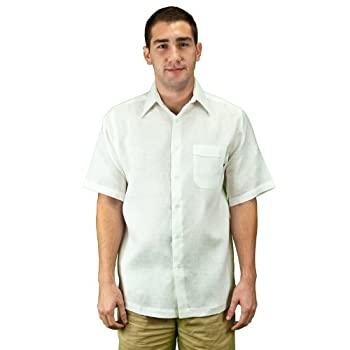 White linen shirt for mens, short sleeve.