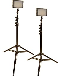Bescor Field Pro FP-180K Bi-Colored Dual LED Studio Lighting Kit, Includes 2x FP-180 Bi-Color LED Light, 2x LS-180 Light Stand, 2x AC-12V2 Power Supply