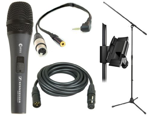 Sennheiser E-815Sx Professional Vocal Microphone With Xlr Jack To Iphone, Ipad2, Ipod Touch And Other Compatible Device For Professional Recording, With A 3.5Mm Mini Jack For Headphones & Iklip Mini - Universal Microphone Stand Adapter & On Stage Stands 7