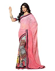 AG Lifestyle Light Pink Faux Georgette & Jacquard Pallu Saree With Unstitched Blouse ELG8012