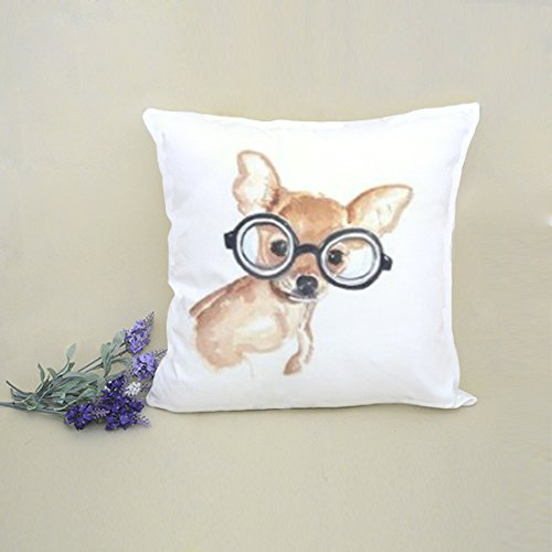 MarryU 18 X 18 Inch Decorative Throw Pillow Cover Cushion Chihuahua and Glasses Animal Style