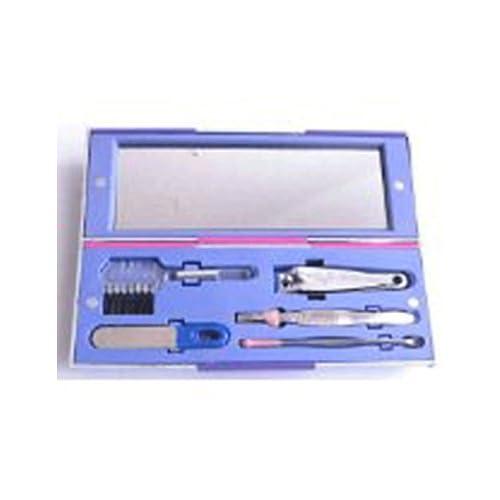 トラベルセット ケア用品 お泊りグッズ ネイル 携帯用 5点セット (紫)