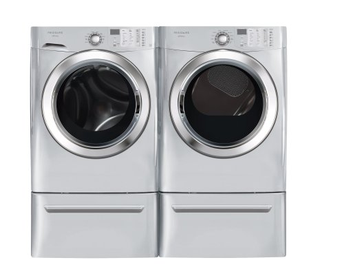 Frigidaire Affinity Silver 3.8 Cu. Ft. Front Load Steam Washer & 7.0 Cu. Ft. GAS Steam Dryer Laundry Set with Pedestals FAFS4073NA_FASG7073NA_CFPWD15A