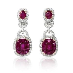 Diamond and Ruby 18k Two Tone Gold Dangle Earrings