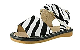 Baby Girls Squeaky Shoes - Zebra Print Leather Sandals