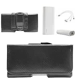 DMG Executive Cell Phone 4in Pouch Carrying Case with Belt Clip Holster for Nokia 5233 (Black) + 3600 mAh Power Bank