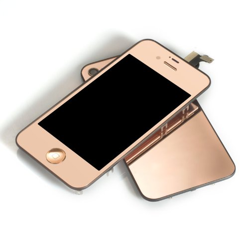 Plated Mirror Lcd Display And Touch Screen Digitizer Glass Assembly + Home Button For Iphone 4S With Free Tools- Mustpoint (Rose Gold)