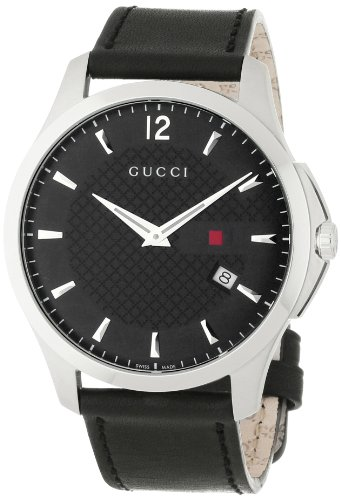 Gucci Men's YA126304 Gucci Timeless Black Diamond Pattern Dial Watch