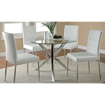 Coaster Home Furnishings Contemporary Dining Chair,Chrome/White