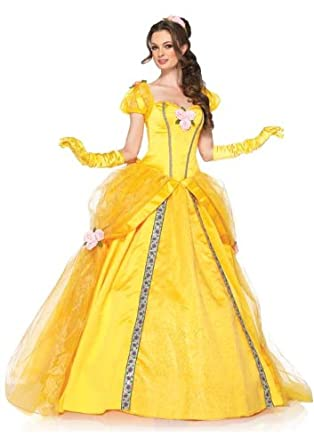 Leg Avenue Disney 5 Piece Deluxe Belle Includes Dress and Head Piece, Yellow, Small