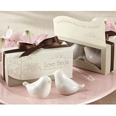 SODIAL(R) 1 Set of Love Birds Ceramic Salt and Pepper Shakers Personalised Wedding Favors - White from SODIAL(R)