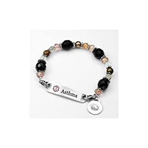 Womens Asthma Alert Cashmere Links of Hope Beaded Bracelet with Medical ID Tag - 7 1/2 inch by StickyJ