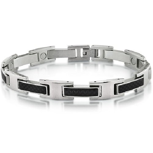 Mens Stainless Steel and Carbon Fiber Magnetic