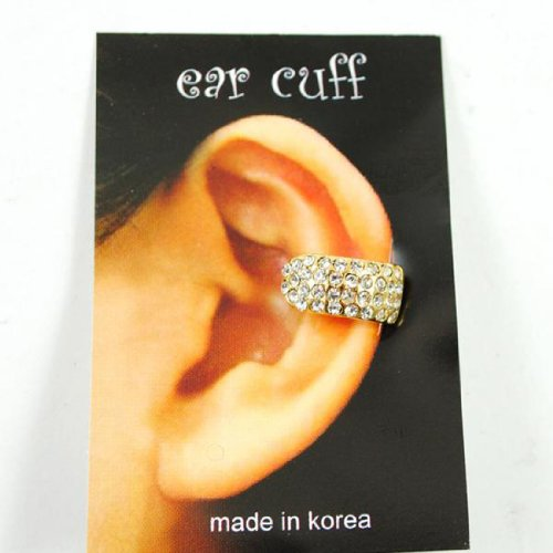 Celebrity Style Gold Crystal Single Small Ear Cuff Earring