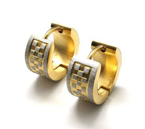 CET Domain SZ11-1163 Mens Titanium Steel Gold Colored Earring Set Accessory