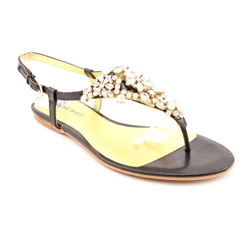 Nine West Seahorse Open Toe Slingback Sandals Shoes Black Womens New/Display