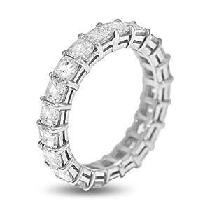 3.43 Ct Asscher Cut Diamond Eternity Band in Platinum by Shenoa & Co