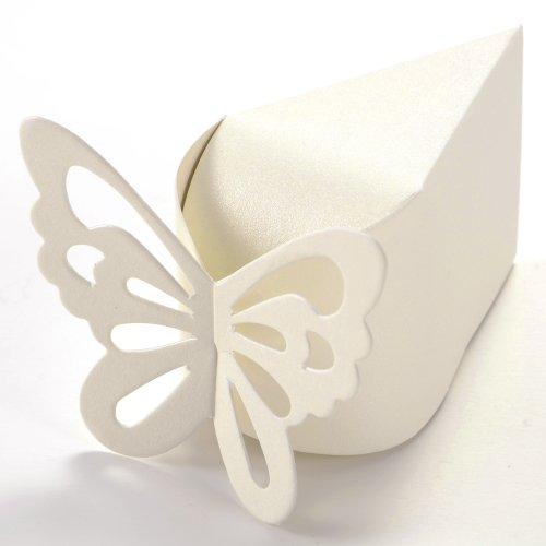 50pz-Carta-di-Bomboniera-Scatolina-Per-Confetti-Compleanno-Nascita-Matrimonio-Triangolo-Crema-Farfalla