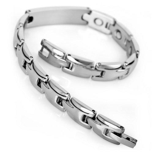 Justeel Jewellery Silver Stainless Steel Men Magnetic Wrist Chain Bangle Bracelet