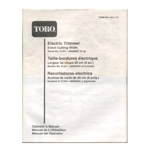 "Original 1994-1999 Toro Electric Trimmer 8"" Model 51231-69000000001 & Up User Manual Form No. 3318-137"