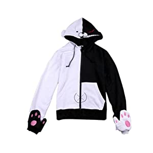 Tobey® Dangan Ponpa Dangan-ronpa Mono Kuma Bear Cosplay Costume Gloves Hoodie (M, Black-White)
