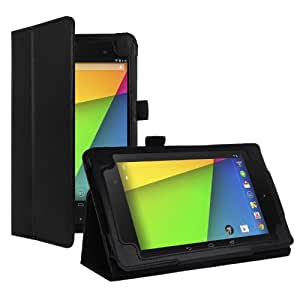 HOKO Black Leather Flip Case Cover Stand for Google Nexus 7 2013 (2nd Generation) (Smart cover sleep and wake function)