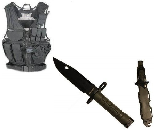 Ultimate Arms Gear Stealth Black Lightweight Edition Tactical Scenario Military-Hunting Assault Vest W/ Right Handed Quick Draw Pistol Holster + Od Olive Drab Green M9 M-9 Military Survival Stealth Black Blade Bayonet Knife With Tactical Sheath Scabbard