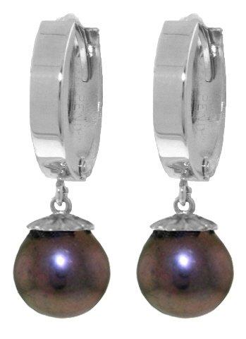 .925 Sterling Silver Hoop Earrings with Genuine Black Pearls