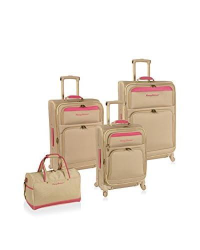 Tommy Bahama Bahama Mama 4-Piece Luggage Set, Champagne/Bright Pink
