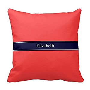 Solid Coral Throw Pillows : Amazon.com - Decors Solid Coral Red, Navy Blue Ribbon Name Monogram Throw Pillow Case Cushion ...