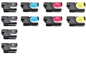 10 PK Compatible LC61 4pk LC61BK+ 2pk LC61C+2pk LC61M+2pk LC61Y Ink Cartridge Set For Brother Printers
