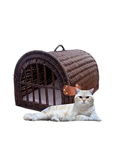 Home Bazaar Wicker Pet House/Carrier, Chocolate