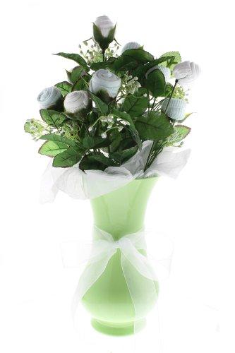 Boy'S Small Bootie Bloom - Blue & White Socks - Green Vase