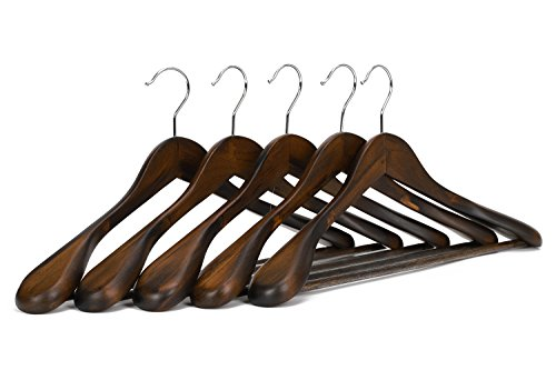 J.S. Hanger Gugertree Wooden Extra-Wide Shoulder Suit Hangers, Coat Hangers, Retro Finish, 5-Pack (Suit Hanger With Locking Bar compare prices)