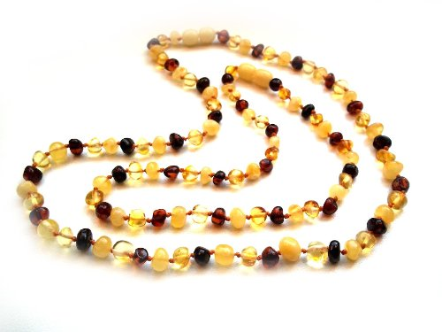 Amberta® Set of 2 Baltic Amber Necklaces for Mother and Child - Baroque Shaped Beads - Multicolour [MS10]
