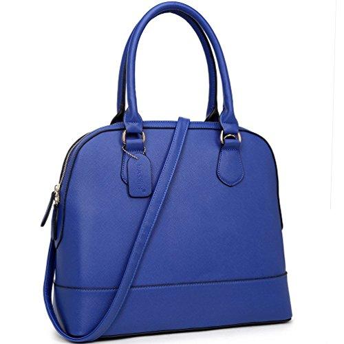 dasein-faux-leather-dome-zip-around-satchel-blue