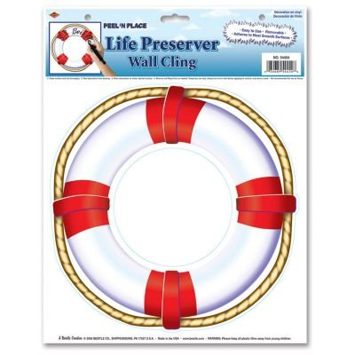 Beistle 54454 Life Preserver Peel 'N Place Party Decorations, 12-Inch by 15-Inch Sheet