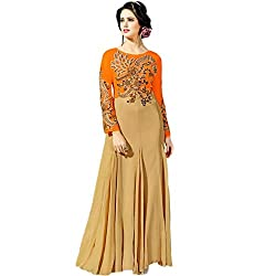 Latest Wize Elegance Boldness Net Embroidered IndoWestern Gown Dress Material