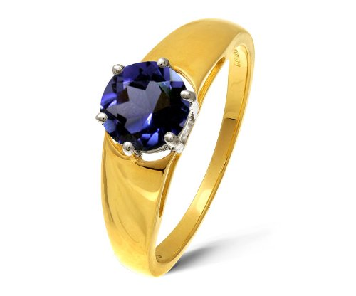 Modern 9 ct Gold Ladies Solitaire Engagement Ring with Iolite 1.00 Carat