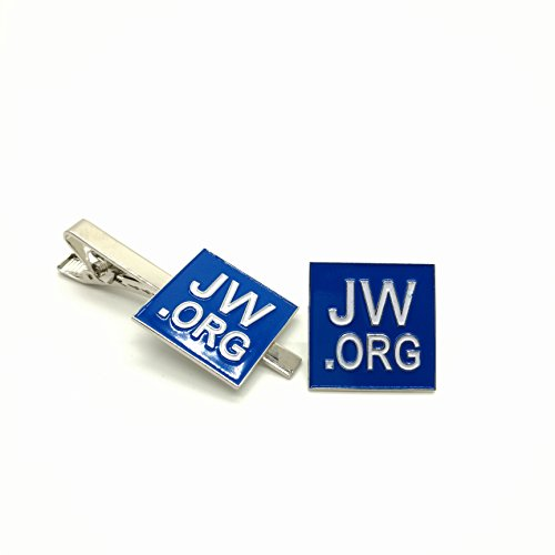 Sale!! Perfect Present-jw.org gift necktie clip and lapel pin set-Square -With JW.ORG Logo Gift Box-Blue