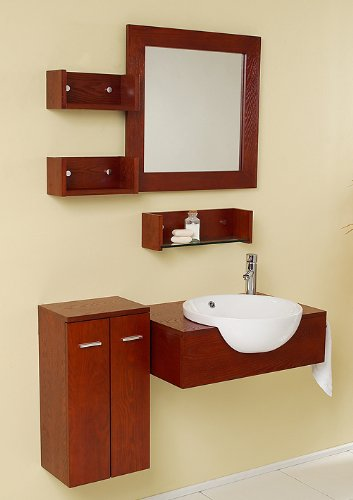 Modern Bathroom Vanity with Mirror & Side Cabinet FVN3520: 25.5
