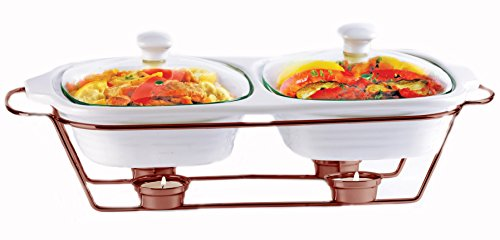 Palais Dinnerware Buffet Double Covered Ceramic Casserole Dish with Warming Rack (2 Dishes - 1 Quart Each, Copper)